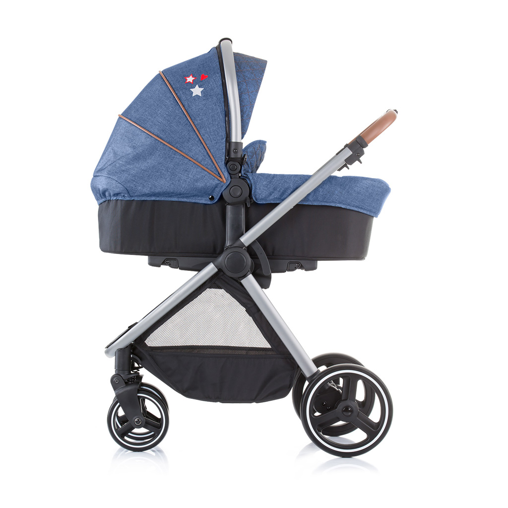 Foldable travel cot with drop side and linen fabric Merida